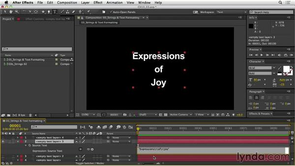 Formatting strings and text: After Effects Expressions: Getting Started