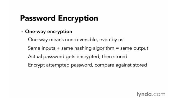 Password encryption: Foundations of Programming: Web Security