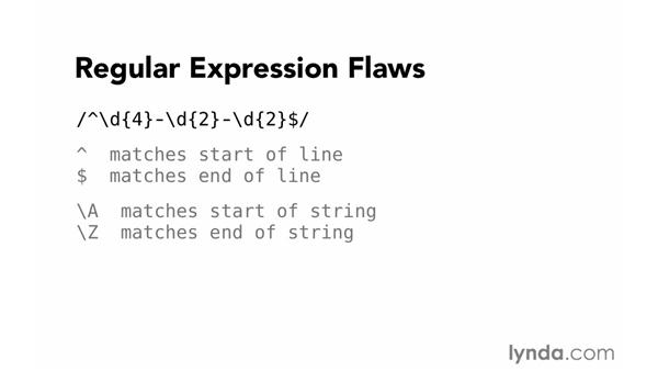 Regular expression flaws: Foundations of Programming: Web Security