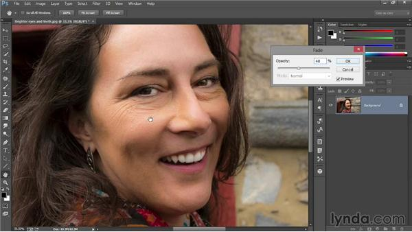 Fading wrinkles with the Patch tool: Introducing Photoshop: Photography