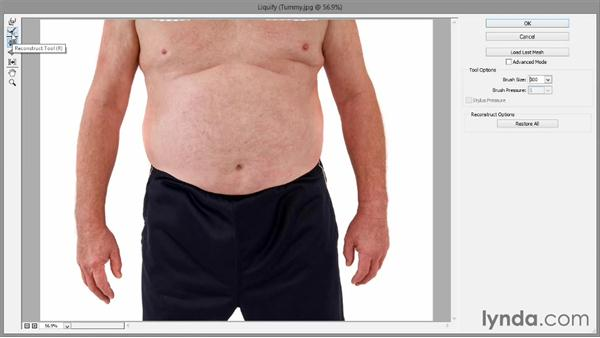 Removing weight with Liquify: Introducing Photoshop: Photography