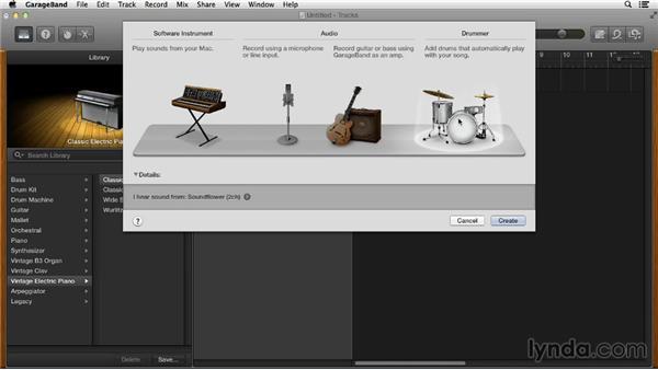 Adding tracks: GarageBand Essential Training