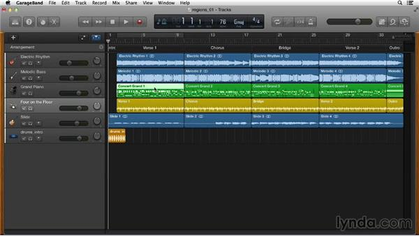 Understanding region types: GarageBand Essential Training