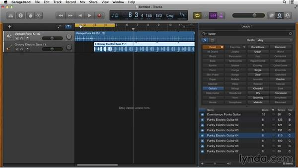 Adding loops to your project and customizing them: GarageBand Essential Training