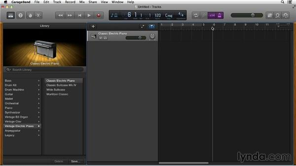 Recording a Software Instrument track: GarageBand Essential Training