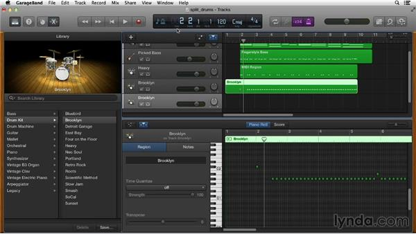 Splitting a drum track into multiple tracks: GarageBand Essential Training