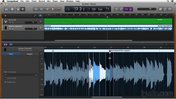 Fixing timing issues with Flex Time and Groove Matching: GarageBand Essential Training