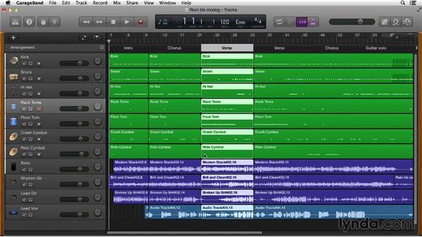 Using the arrangement track: GarageBand Essential Training