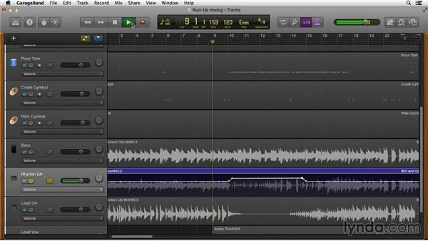 Automating volume and panning: GarageBand Essential Training