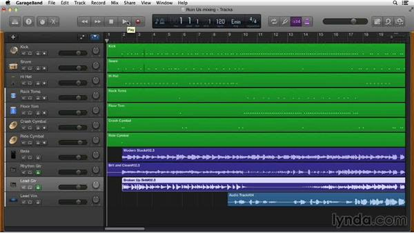 Locking tracks to improve system performance: GarageBand Essential Training