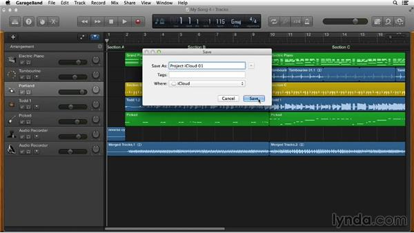 Saving your project to iCloud to access from other Macs: GarageBand Essential Training