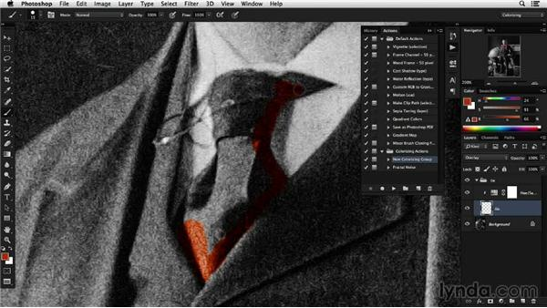 Using the Brush tool to isolate individual color areas: Colorizing Black-and-White Photographs with Photoshop