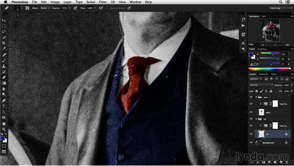 Isolating layer color with the transparency lock: Colorizing Black-and-White Photographs with Photoshop