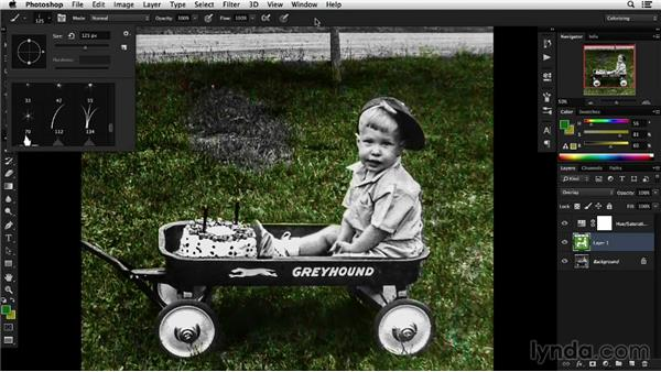 Solution: Colorize grass in an outdoor image: Colorizing Black-and-White Photographs with Photoshop