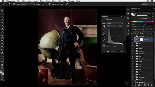 Applying global tonal adjustments: Colorizing Black-and-White Photographs with Photoshop