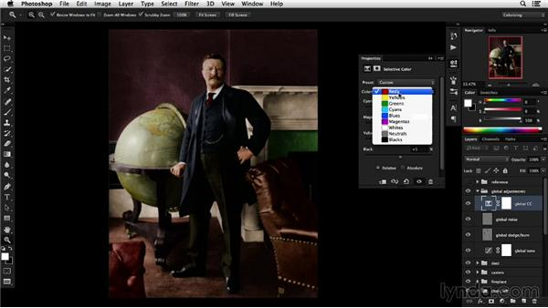 Applying global color corrections: Colorizing Black-and-White Photographs with Photoshop