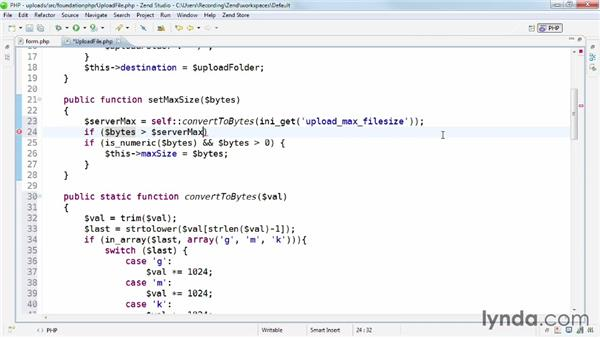 Strengthening the setMaxSize() method: Uploading Files Securely with PHP