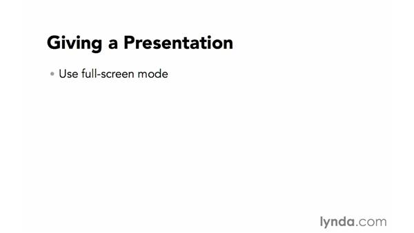 Giving a presentation: Creating a PDF Presentation
