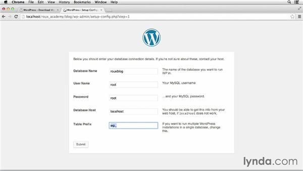 Setting up WordPress: Dreamweaver CC and WordPress 3.8: Core Concepts