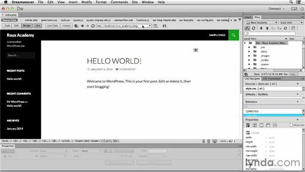 Following links: Dreamweaver CC and WordPress 3.8: Core Concepts