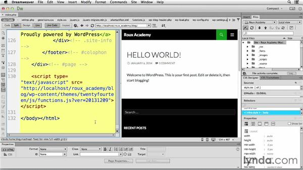 Employing Live Code: Dreamweaver CC and WordPress 3.8: Core Concepts
