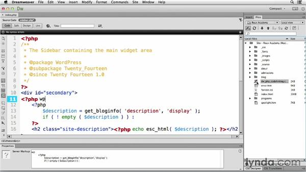 Enabling site-specific code hinting: Dreamweaver CC and WordPress 3.8: Core Concepts