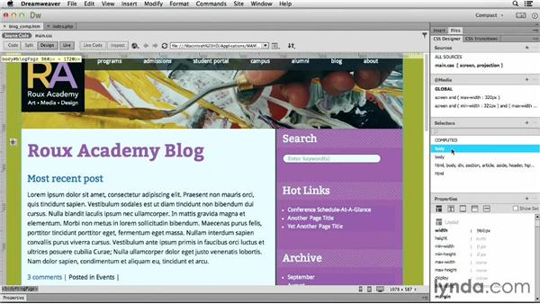 Updating page structure and the background: Dreamweaver CC and WordPress 3.8: Core Concepts