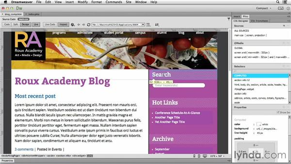 Setting up content columns: Dreamweaver CC and WordPress 3.8: Core Concepts