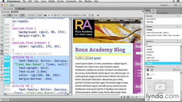 Changing the main content: Dreamweaver CC and WordPress 3.8: Core Concepts