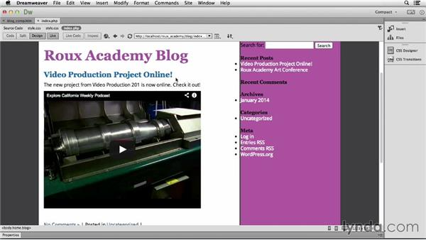 Managing the content code: Dreamweaver CC and WordPress 3.8: Core Concepts