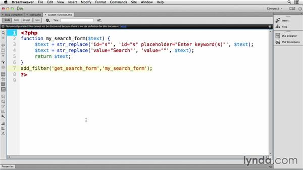 Working with search text: Dreamweaver CC and WordPress 3.8: Core Concepts