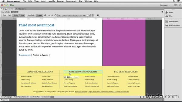 Integrating the footer: Dreamweaver CC and WordPress 3.8: Core Concepts