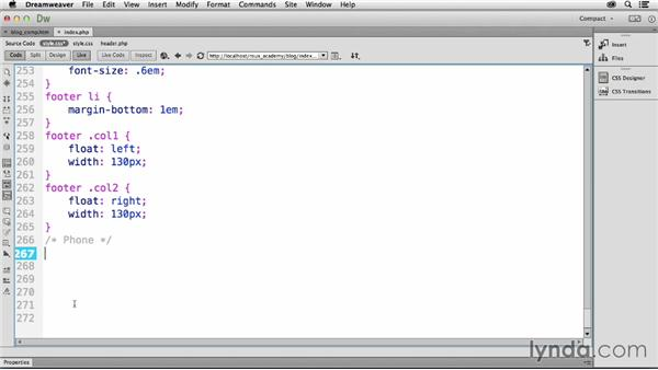 Setting up media queries: Dreamweaver CC and WordPress 3.8: Core Concepts