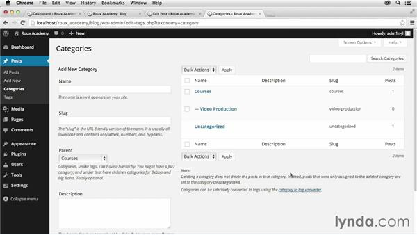 Working with categories and posts: Dreamweaver CC and WordPress 3.8: Core Concepts