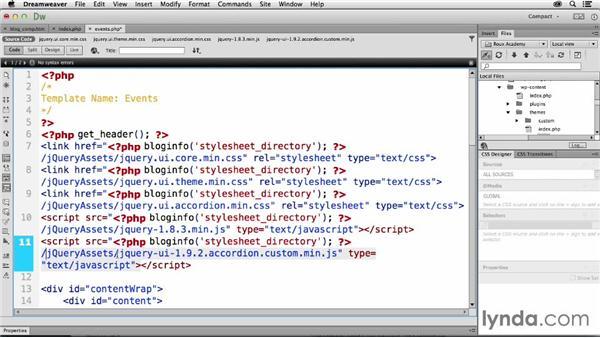 Adding jQuery UI accordion panels: Dreamweaver CC and WordPress 3.8: Core Concepts