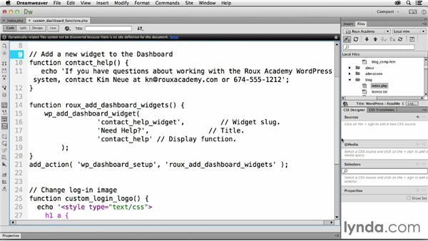 Customizing the Dashboard: Dreamweaver CC and WordPress 3.8: Core Concepts
