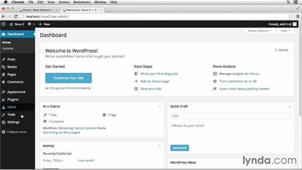 Exporting and importing WordPress files: Dreamweaver CC and WordPress 3.8: Core Concepts