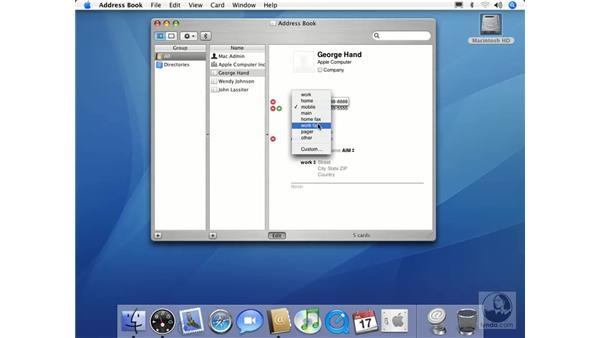 Using Address Book: Mac OS X 10.4 Tiger Essential Training
