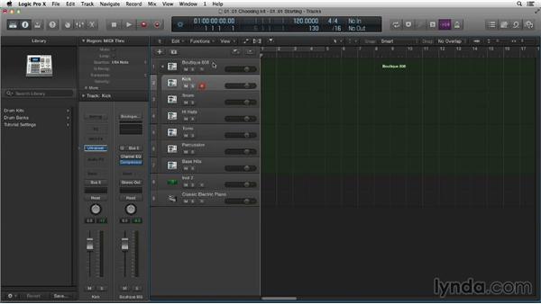 Choosing the drum kit: Making Beats in Logic Pro X