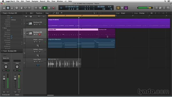 Creating easy drum fills by MIDI time compressing: Making Beats in Logic Pro X