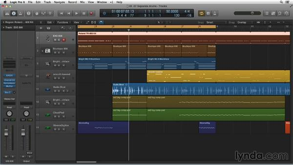 Separating your kick and snare by note, pitch, and output: Making Beats in Logic Pro X