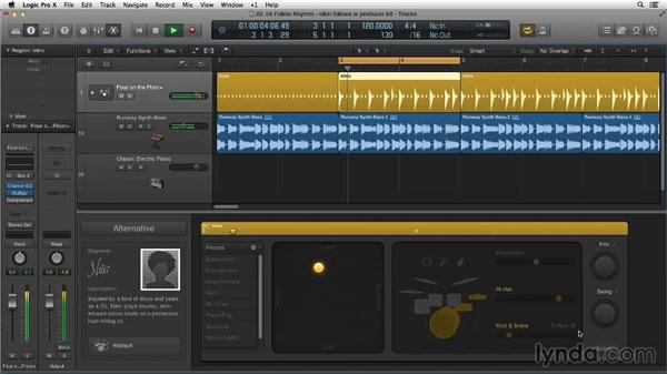 Tightening the kick and snare with Follow Rhythm: Making Beats in Logic Pro X