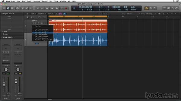 Flexing to quantize audio: Making Beats in Logic Pro X