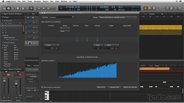 Using MIDI Transform for a human-drummer feel: Making Beats in Logic Pro X