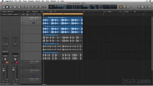 Packing drum loops into a take folder: Making Beats in Logic Pro X