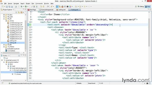 Sorting XML data with XSLT: XML Essential Training