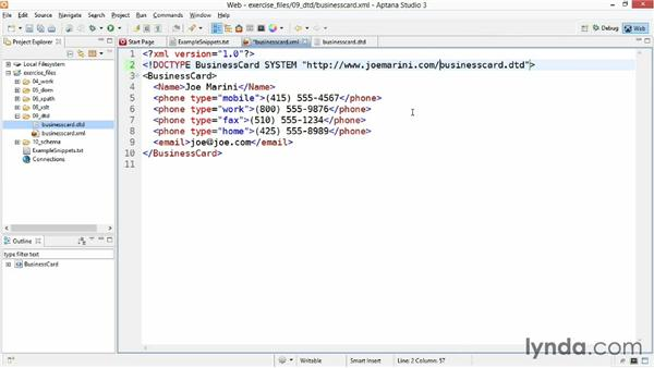 associating a dtd with an xml file