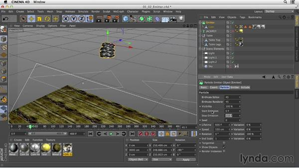 Adding an emitter to create multiple objects for the scene: Mograph Techniques: Dynamic Falling Objects in CINEMA 4D