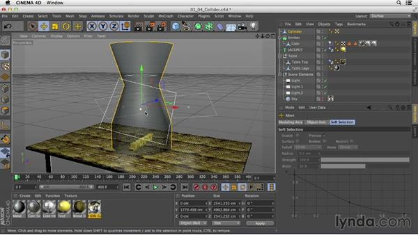 Modeling a collider cone to restrain where the coins fall: Mograph Techniques: Dynamic Falling Objects in CINEMA 4D