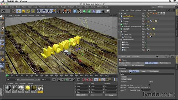 Baking animations with proxy elements to speed up render times: Mograph Techniques: Dynamic Falling Objects in CINEMA 4D